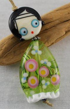 'LITTLE MISS-Garden Girl' 2 piece Handmade Lampwork Glass Bead Doll-Pendant by jperaladesigns $35.00 Etsy <3<3<3FANTASTIC<3<3<3