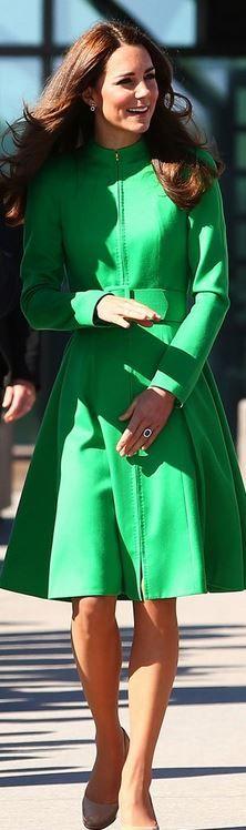 Kate Middleton: Coat – Catherine Walker; Earrings – Kiki McDonough; Shoes- L.K. Bennett; Selfridges