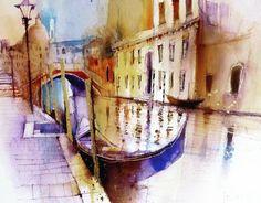 Venice #watercolour #painting #artsanity #gondolas #canals #venice #veniceart #instagramart #picoftheday #cityart #creative #studioart