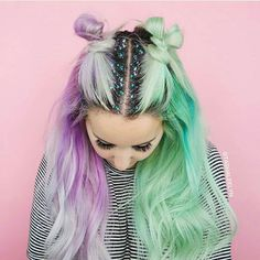 green and purple split hair