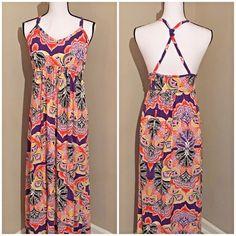 Cacique Maxi Dress Multi Colors Size 18/20 Criss Cross Spaghetti Straps  #Cacique #MaxiDress #AnyOccasion