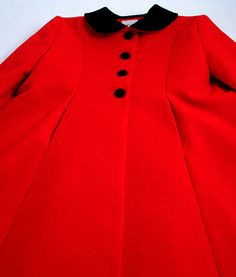 Red Wool Melton Riding Coat for a Little Girl
