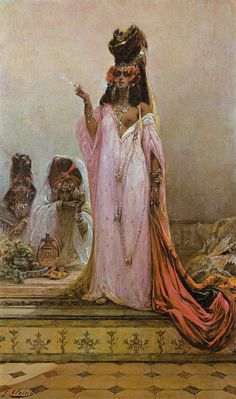 'Harem Woman' by GEORGES CLARIN (1843-1919) The harem or slave market was a favorite theme that added spice to any story. And so was the exotic Queen of the harem, who was usually the favorite, and not victimised, but a dangerous female, who looked after her own interests. She often slipped naive lovers into the harem, wishing to 'save' her. She of course used them for her own pleasure. From the book 'Femme Fatale : Images of evil & fascinating women' by Patrick Bade 1971 (minkshmink)