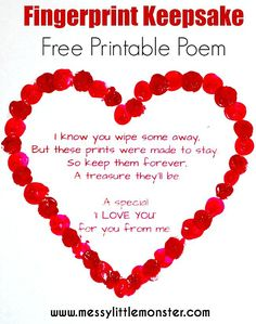 Valentine's Day Craft for Kids / Fingerprint heart poem. Get you FREE PRINTABLE VALENTINES POEM and add fingerprints. A cute and easy heart craft for toddlers and preschoolers, eyfs. Funny Valentine, Valentines Day Poems, Valentine Theme, Free Printable Valentines, Valentine's Day Crafts For Kids, Valentine Crafts For Kids, Toddler Crafts, Valentines Crafts For Kindergarten, Easy Mothers Day Crafts For Toddlers