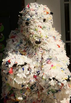 Artist Tone Holmen's sculpture of a polar bear, made from plastic bags, is displ. - Artist Tone Holmen's sculpture of a polar bear, made from plastic bags, is displayed at the Recyc - Plastic Bag Crafts, Recycled Plastic Bags, Plastic Art, Plastic Recycling, Plastic Spoons, Plastic Bottles, Crafts From Recycled Materials, Recycled Art Projects, Recycled Clothing
