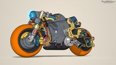Cyberpunk bike by on deviantart Cyberpunk Aesthetic, Arte Cyberpunk, Akira Characters, Cafe Racer Moto, Cool Car Drawings, Motorcycle Art, Automotive Art, Bike Design, Art Model