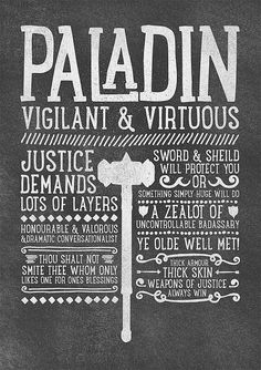 World of Warcraft / Roleplaying Medieval / Fantasy Inspired Type Print - PALADIN Edition