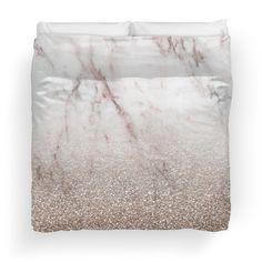 Glitter ombre - pink marble & rose gold glitter duvet cover for modern bedroom decor