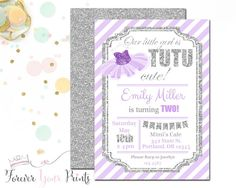 LAVENDER AND SILVER Tutu Birthday Invitations by ForeverYourPrints