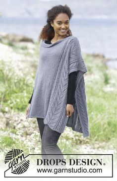 Cloudy day / DROPS - free knitting patterns by DROPS design Knitted poncho with cable pattern and lace pattern. Sizes S - XXXL. The piece is worked in DROPS BabyAlpaca Silk and DRO. Knit Vest Pattern, Poncho Knitting Patterns, Knitted Poncho, Knitted Shawls, Knitting Designs, Knit Patterns, Free Knitting, Drops Design, Drops Kid Silk