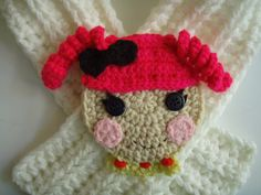 Crochet Lalaloopsy Lala Loopsy Doll Face Crochet Scarf Scarfette PATTERN # 203 PDF One Size Fits All