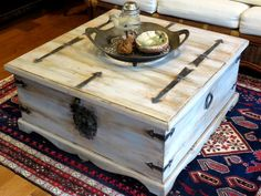 Mexican trunk gets beachy look with FAT Chalk White, Antique Wedgewood, Pewter & Patina wax.