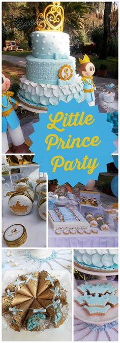 You have to see this blue and gold little prince party! See more party ideas at CatchMyParty.com!