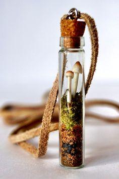 Woodland Mushroom Terrarium Necklace. $38.00, via Etsy.