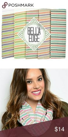 Colorful pastel stripe infinity scarf These colorful pastel infinity scarves are essential for spring! With assorted color stripes, you're sure to play mix and match with your spring wardrobe. Bella Edge Boutique Accessories Scarves & Wraps