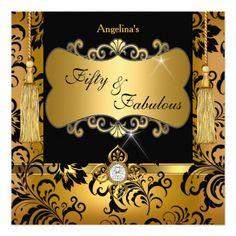 "Fabulous 50 Gold Black Damask Birthday Party 5.25"" Square Invitation Card"