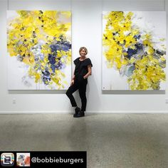 Who wouldn't want these?! Amazing work by @bobbieburgers . I don't usually care too much for yellow, but here it is just wonderful #abstractart #abstractexpressionism #bobbieburgers #colourpop #springcolours #obsessedwithcolour