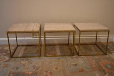 Set of Three Mid-Century Brass and Travertine Tables 4