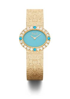 Diamond Watches Collection : Oval traditional watch in pink gold set with 20 brilliant-cut diamonds 4 natural turquoise cabochons and natural turquoise dial. Elegant Watches, Stylish Watches, Luxury Watches, High Jewelry, Luxury Jewelry, Modern Jewelry, Amazing Watches, Beautiful Watches, Pierre Turquoise