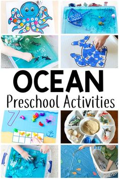 These ocean theme preschool activities are sure to be a hit! From math to alphabet to sensory and arts and crafts, there are tons of ocean activities for your preschoolers! Ocean Activities for Kids Beach Theme Preschool, Summer Preschool Activities, Sea Activities, Preschool Crafts, Toddler Activities, Themes For Preschool, Vocabulary Activities, Water Animals Preschool, Art Activities For Preschoolers