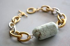 Arm Candy - pale blue stone mixed metal link bracelet - gold and silver chain bracelet