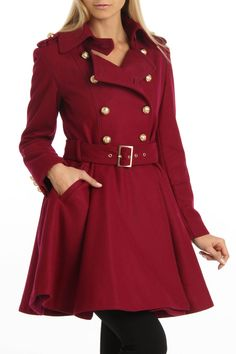 M60 by Miss Sixty Double Breasted Belted Coat In Raspberry  Have to sign up for the website to view