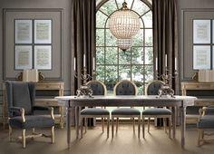 restoration hardware style dining room crustal orb chandelier weathered reclaimed wood