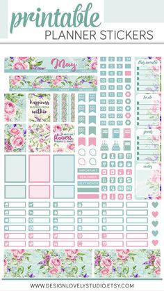 Printable Mini Happy Planner May Monthly Planner Sticker Kit - Design Lovely Studio #floral #monthly #plannerstickers #printable #downloadable #may