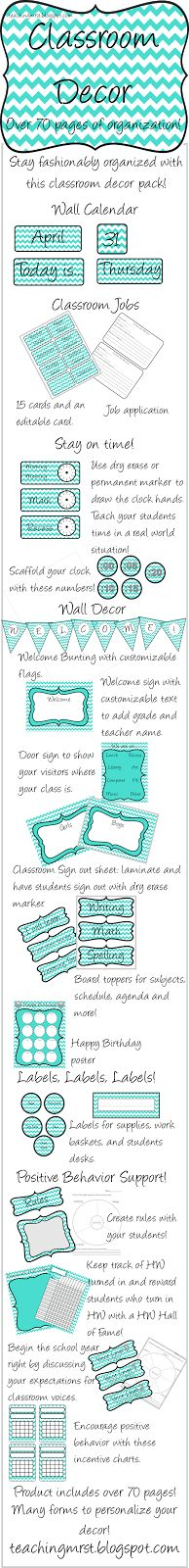 Over 70 pages of classroom decor to help you stay organized this school year. Adorable teal chevron design. $