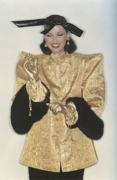 YSL Couture mink-cuffed gold damask overcoat, photograph by Lothar Schmid, 1977-78