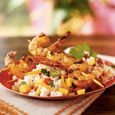 Mango Rice Salad with Grilled Shrimp  (CL)