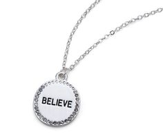Believe Engraved Circle Necklace
