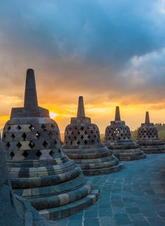 9th-century Buddhist Temple Borobudur temple at #sunrise, Java, Indonesia
