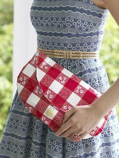 DIY oilcloth clutch