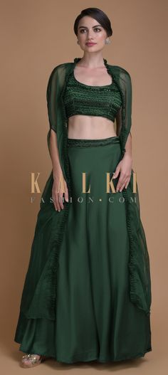 Emerald Green Skirt And Crop Top With Cut Dana Work And Organza Jacket Online - Kalki Fashion Sleeveless Crop Top, Jackets Online, Indian Outfits, Emerald Green, Indian Fashion, Satin, Bridesmaid, Crop Tops, Free Shipping
