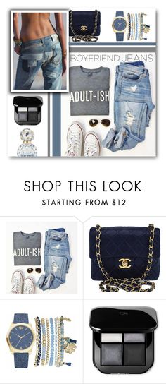 """Borrowed from the Boys: Boyfriend Jeans"" by matildiwinky ❤ liked on Polyvore featuring Chanel, Anja, Mixit and Marc Jacobs"