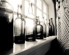 Black and White photography - Vintage glass bottles crochet lace grey antique for him still life photography 8x10 via Etsy.