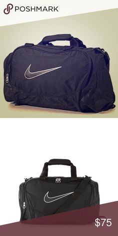 Nike Duffel Bag Black Black Nike Duffel bag. It's in great shape and works as an awesome travel bag!! It has 2 outer pockets, 1 large pocket and then a shoulder strap, and even 2 straps to hold by your hands. Nike Bags Travel Bags