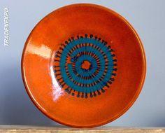 Vintage 60-70s DUMLER&BREIDEN Orange Plate Bowl W.German Pottery Fat Lava Vase E #Vases
