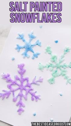 winter kids crafts SALT PAINTED SNOWFLAKES - these are so fun to do! Such a fun winter activity for kids. A perfect winter craft for kids. Winter Activities For Kids, Winter Crafts For Kids, Christmas Crafts For Kids, Craft Activities, Diy For Kids, Christmas Diy, Chritmas, Winter Crafts For Preschoolers, Winter Kids