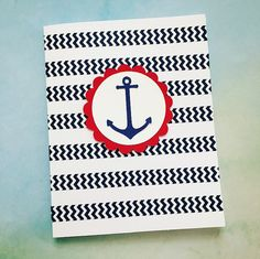 Thank You Card Set of 10 Nautical Anchor by PrettyWittyPaper