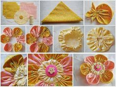 Six Amazing Cloth Flower Diy Square and circle fabric flowers Making Fabric Flowers, Cloth Flowers, Fabric Roses, Fabric Ribbon, Flower Making, Diy Flowers, Paper Flowers, Flower Petals, Flower Diy