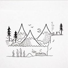 Amazing camping drawing. Love these drawings♥️