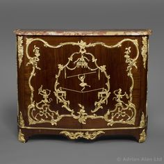 A Fine Louis XV Style Gilt-Bronze Mounted Mahogany Side-Cabinet In The Manner of Charles Cressent, By François Linke, French, circa 1890 - #AdrianAlan