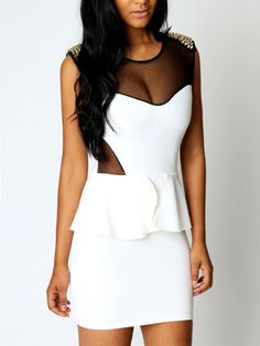 Peplum and Mesh Dress + Spiked Shoulders