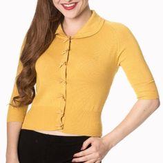 Mustard Short Sleeve Crop Collar Cardigan