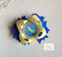 Hey, I found this really awesome Etsy listing at http://www.etsy.com/listing/164499300/down-syndrome-awareness-hair-bow