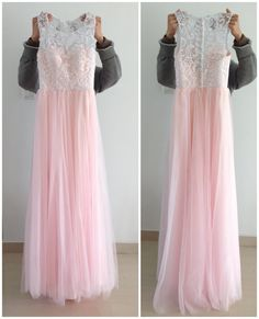Scoop Long Ivory Lace Pink Tulle Prom Dress 2014 by XOXOdress