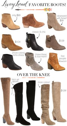 Shoe Roundup: Ankle Booties & Over The Knee Boots - LivvyLand Winter Accessories, Fashion Accessories, Heeled Boots, Shoe Boots, Fashion Dictionary, Fashion Vocabulary, Over The Knee Boots, Ankle Booties, Me Too Shoes