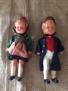 "Vintage 1940's  EDI Puppen German plastic celluloid 7"" doll pair European Oktoberfest dress costume vintage toy antique doll Old world charm"